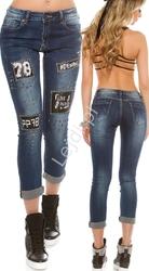 Jeansy z skórkowymi naszywkami i jetami c9124