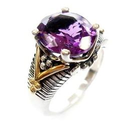 Ametystowy płomień srebrny pierścionek sygnet ametyst 5,7 ct.