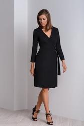 Czarna elegancka sukienka kopertowa cala