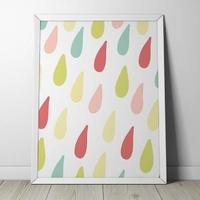 Kolorowe kropelki - plakat dla dzieci , wymiary - 60cm x 90cm, kolor ramki - biały