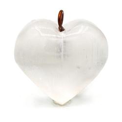 Selenit szlifowany - serce wisior 01