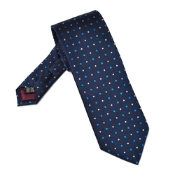 Elegancki granatowy krawat van thorn w kropki