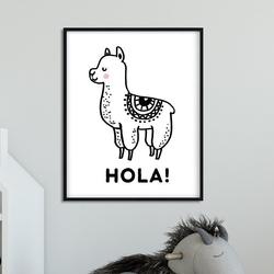 Hola - plakat dla dzieci , wymiary - 30cm x 40cm, kolor ramki - biały