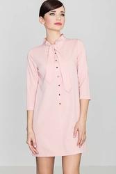 Uniwersalna różowa koszulowa sukienka z wiązaną pod szyją szarfą