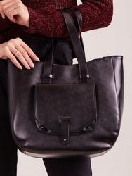 Włoska torebka skórzana shopper bag czarna rovicky twr-64 - czarny