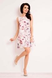 Ecru sukienka trapezowa bez rękawów w kwiaty
