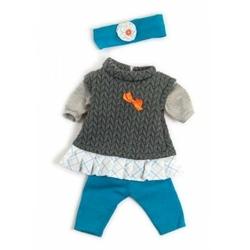 Ubranko dla lalki 40 cm niebieskie spodenki sweterek i opaska