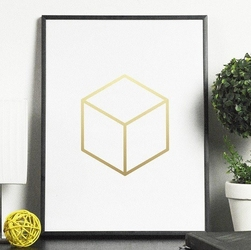Sześcian - plakat w ramie ze złotym nadrukiem , wymiary - 30cm x 40cm, kolor ramki - biały, kolor nadruku - złoty