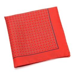 Jedwabna czerwona poszetka van thorn w granatowy wzór
