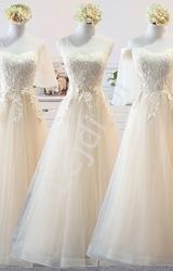 Tiulowa szampańska suknia dla druhny, na studniówkę, wesele