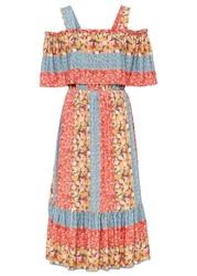 Sukienka z dekoltem carmen z ramiączkami bonprix jasnoróżowo-niebiesko-żółty w kwiaty