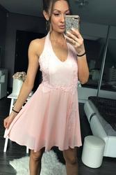 Emamoda sukienka pudrowy róż 48030-3