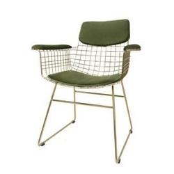 Hk living :: zestaw zielonych podkładek do krzesła wire