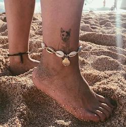 Bransoletka na nogę na kostkę wiązana muszelki - wiązana