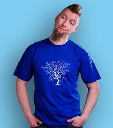 Drzewo t-shirt męski niebieski xl