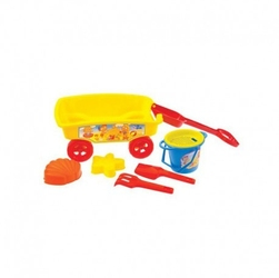 Przyczepka wózek taczka do piasku z akcesoriami mochtoys żółty
