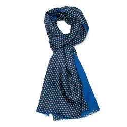 Elegancki szal dwustronny jedwab-wełna granat i niebieski