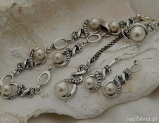 Alvaro - srebrny komplet perły i kryształy