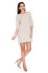 Beżowa mini sukienka z rękawem 34