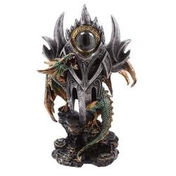 Zielony smok i magiczne oko - figurka fantasy