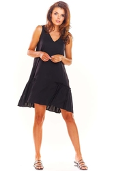 Luźna czarna sukienka bez rękawów z falbanką