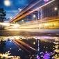 Nocna warszawa - plakat premium wymiar do wyboru: 60x80 cm