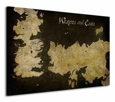 Game of Thrones Westeros and Essos Antique Map - Obraz na płótnie