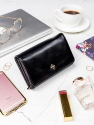 Stylowy portfel damski milano design czarny - czarny