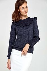 Granatowy cienki sweter z falbanką