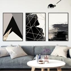Zestaw trzech plakatów - abstract geometry , wymiary - 20cm x 30cm 3 sztuki, kolor ramki - biały