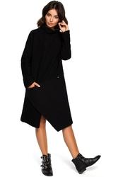 Luźna asymetryczna sukienka z długim rękawem czarna b098