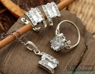 Spring - srebrny komplet z kryształkami