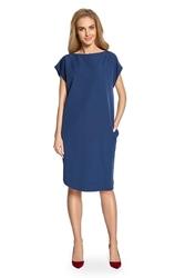 Granatowa sukienka o prostym kroju z szerokim rękawkiem