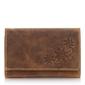 Skórzany portfel damski w kwiatki vintage 5497