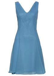 Sukienka szyfonowa bonprix matowy niebieski