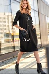 Czarna sukienka bombka z ozdobną kieszenią