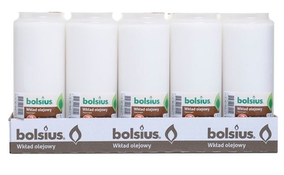 Bolsius, wkład olejowy do znicza, biały, 7 dni  palenia, 15 sztuk