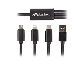 Lanberg kabel combo usb-am-usb microm+lightningm+usb-cm 2.0 1m czarny premium