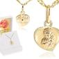 Złoty medalik z matką boską częstochowską serduszko pr. 585 chrzest komunia bierzmowanie grawer różowa kokardka - białe z różową kokardką