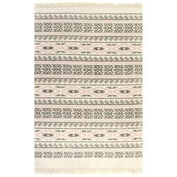 Vidaxl dywan typu kilim, bawełna, 160 x 230 cm, szaro-różowy ze wzorem