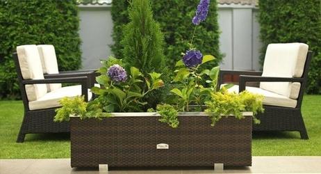 Donica ogrodowa milo z technorattanu z listwą dekoracyjną 150x39x50 cm