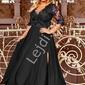Czarna sukienka plus size z koronkową górą z cekinami - crystal 34