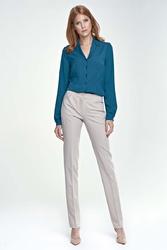 Beżowe spodnie eleganckie z kantem