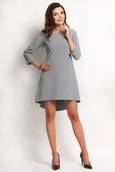 Szara sukienka z wydłużonym tyłem z kontrafałdą