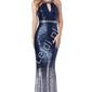 Estradowa suknia cekinowa o kroju syreny, ombre granatowo srebrne, by stephanie pratt