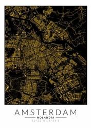 Amsterdam złota mapa - plakat