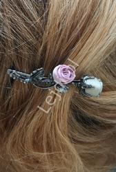 Spinka do włosów z różami 3d i z kryształkami w kolorze hematytu  3