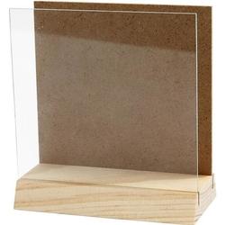 Drewniana ramka z szybką 10x10 cm - 10X10CM