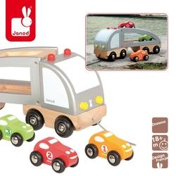 Laweta z autkami - samochód drewniany do ciągnięcia