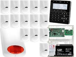 Zestaw alarmowy satel integra 128-wrl manipulator sensoryczny int-ksg-bsb 14x czujka lc-100 sygnalizator zewnetrzny spl-5010 r powiadomienie gsm